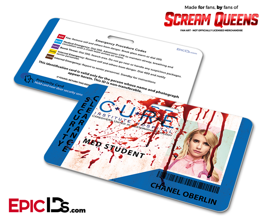 C.U.R.E. 'Scream Queens' Hospital Cosplay Employee ID Name Badge - Chanel Oberlin