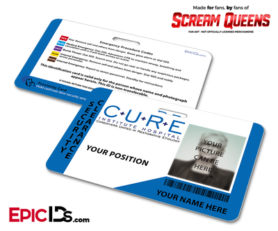 C.U.R.E. 'Scream Queens' Hospital Cosplay Employee ID Name Badge - [Photo Personalized]