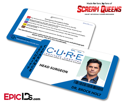 C.U.R.E. 'Scream Queens' Hospital Cosplay Employee ID Name Badge - Dr. Brock Holt