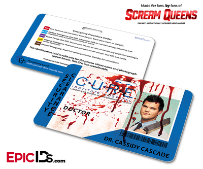 C.U.R.E. 'Scream Queens' Hospital Cosplay Employee ID Name Badge - Dr. Cassidy Cascade