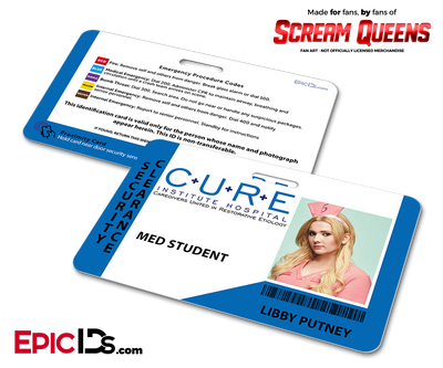 C.U.R.E. 'Scream Queens' Hospital Cosplay Employee ID Name Badge - Libby Putney