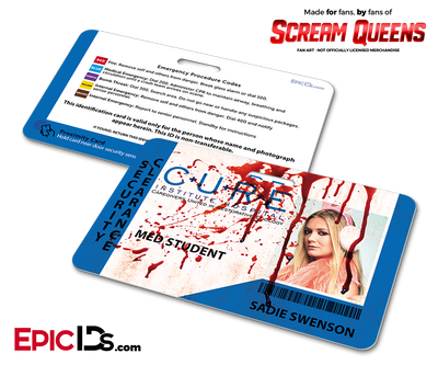 C.U.R.E. 'Scream Queens' Hospital Cosplay Employee ID Name Badge - Sadie Swenson