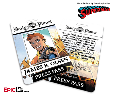 Superman Classic Comic Daily Planet Press Pass Cosplay ID Badge - Jimmy Olsen