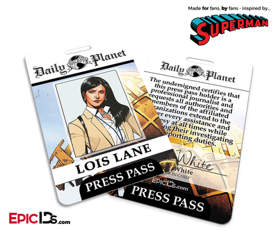 Superman Classic Comic Daily Planet Press Pass Cosplay ID Badge - Lois Lane