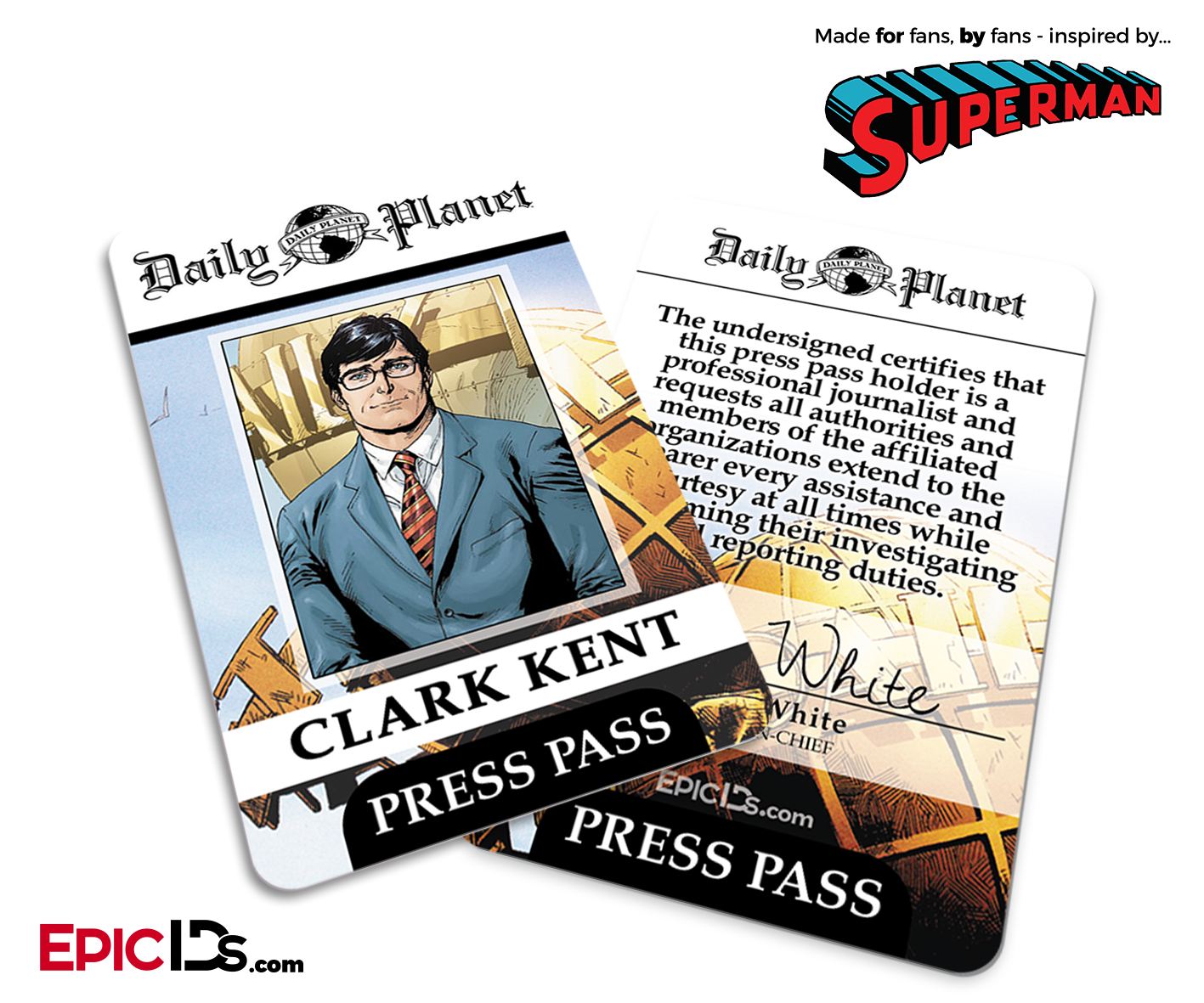 image about Lois Lane Press Pass Printable called Superman Clic Comedian Day-to-day Earth Push P Cosplay Identification Badge - Clark Kent