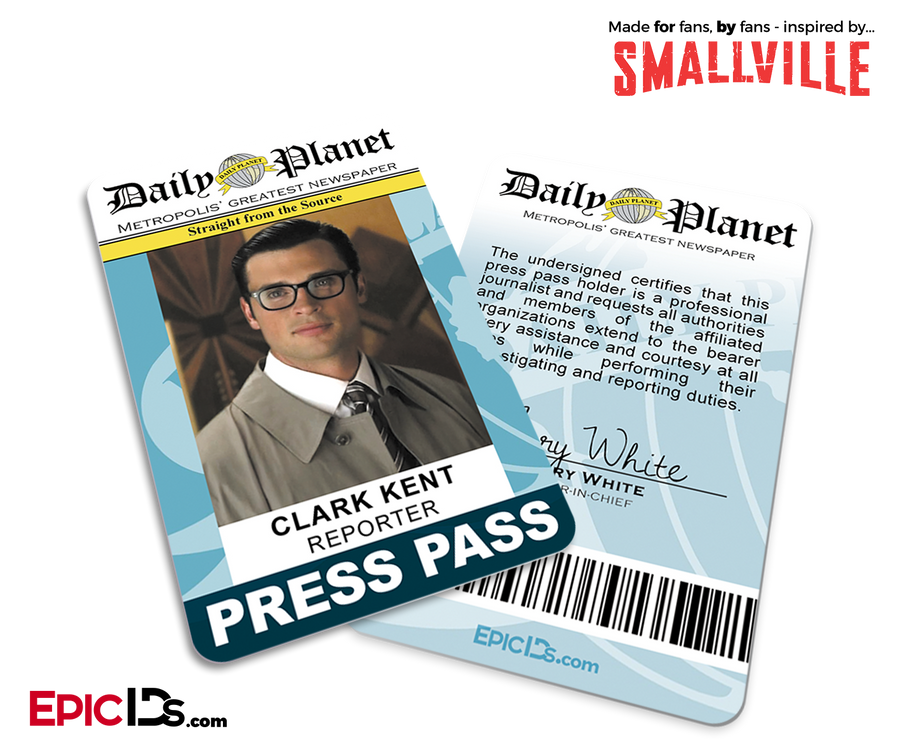 graphic about Clark Kent Press Pass Printable called Tv set Clearly show IDs - Epic IDs