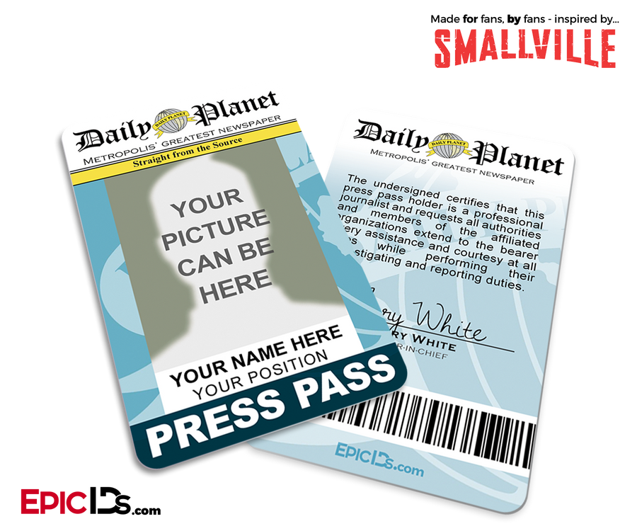 picture about Clark Kent Press Pass Printable named Television set Demonstrate IDs - Epic IDs