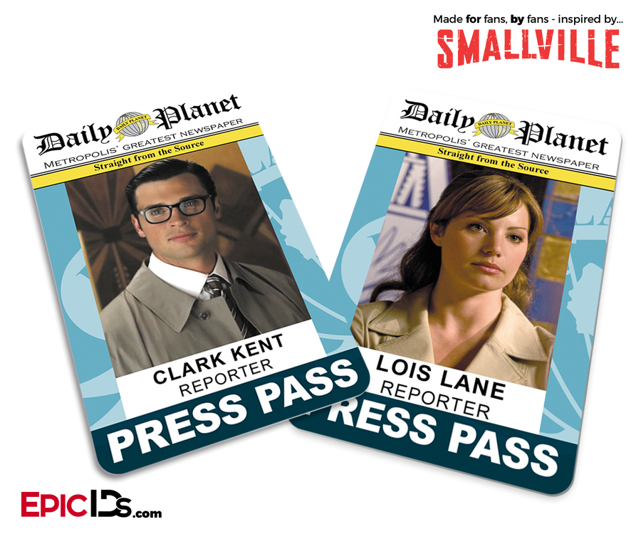 Daily Planet 'Smallville' Press Pass - Lois Lane & Clark Kent Couple Set