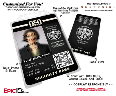 Supergirl TV Series Inspired Department of Extranormal Operations (DEO) Security ID [Photo Personalized]