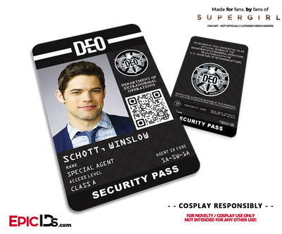 Supergirl TV Series Inspired Department of Extranormal Operations (DEO) Security ID - Winslow Schott