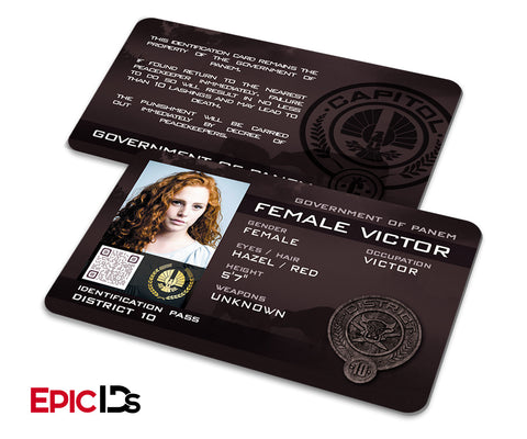 "The Hunger Games Inspired Panem District 11 ""Female Victor"" Identification Card"