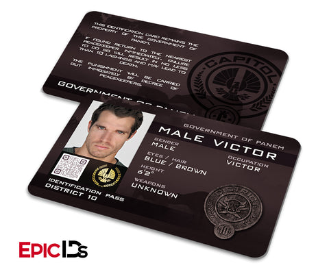 "The Hunger Games Inspired Panem District 10 ""Male Victor"" Identification Card"
