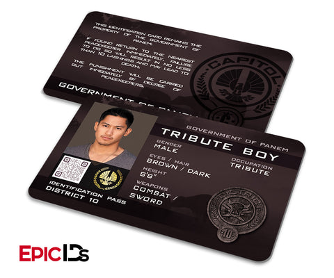 "The Hunger Games Inspired Panem District 10 ""Tribute Boy"" Identification Card"