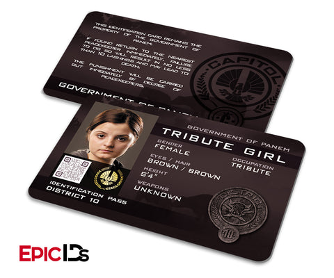 "The Hunger Games Inspired Panem District 10 ""Tribute Girl"" Identification Card"