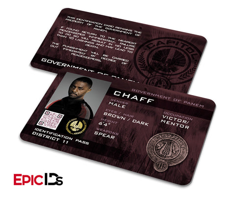 "The Hunger Games Inspired Panem District 11 ""Chaff"" Identification Card"