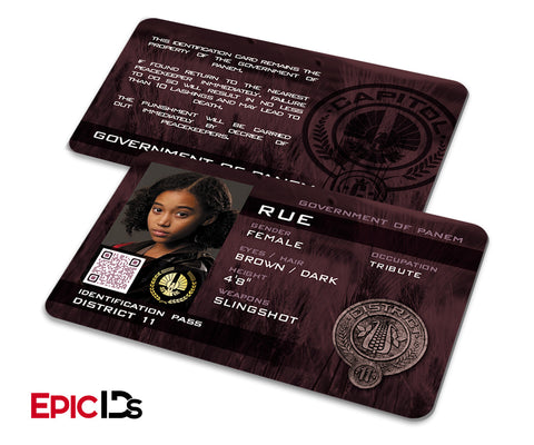 "The Hunger Games Inspired Panem District 11 ""Rue"" Identification Card"
