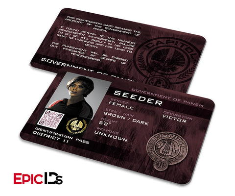 "The Hunger Games Inspired Panem District 11 ""Seeder"" Identification Card"