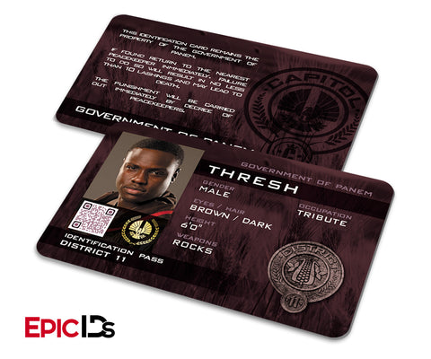 "The Hunger Games Inspired Panem District 11 ""Thresh"" Identification Card"