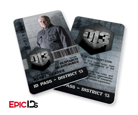 "The Hunger Games Inspired Panem District 13 ""Plutarch Heavensbee"" Identification Card"