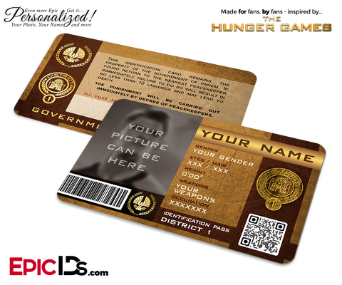 The Hunger Games Inspired Panem District 1 Identification Card [Photo Personalized]