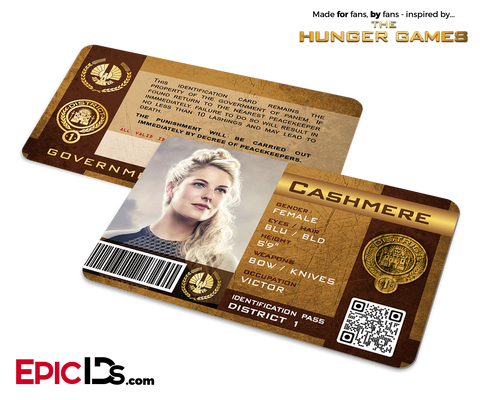 The Hunger Games Inspired Panem District 1 Identification Card - Cashmere
