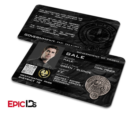 "The Hunger Games Inspired Panem District 12 ""Gale"" Identification Card"