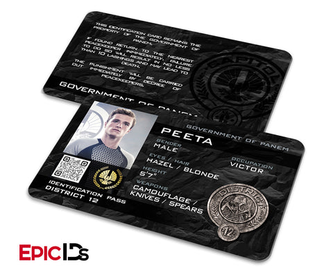 "The Hunger Games Inspired Panem District 12 ""Peeta"" Identification Card"