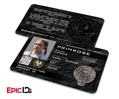 "The Hunger Games Inspired Panem District 12 ""Primrose"" Identification Card"