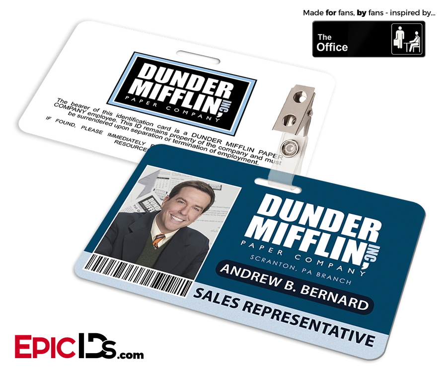 The Office Inspired - Dunder Mifflin Employee ID Badge - Andy Bernard