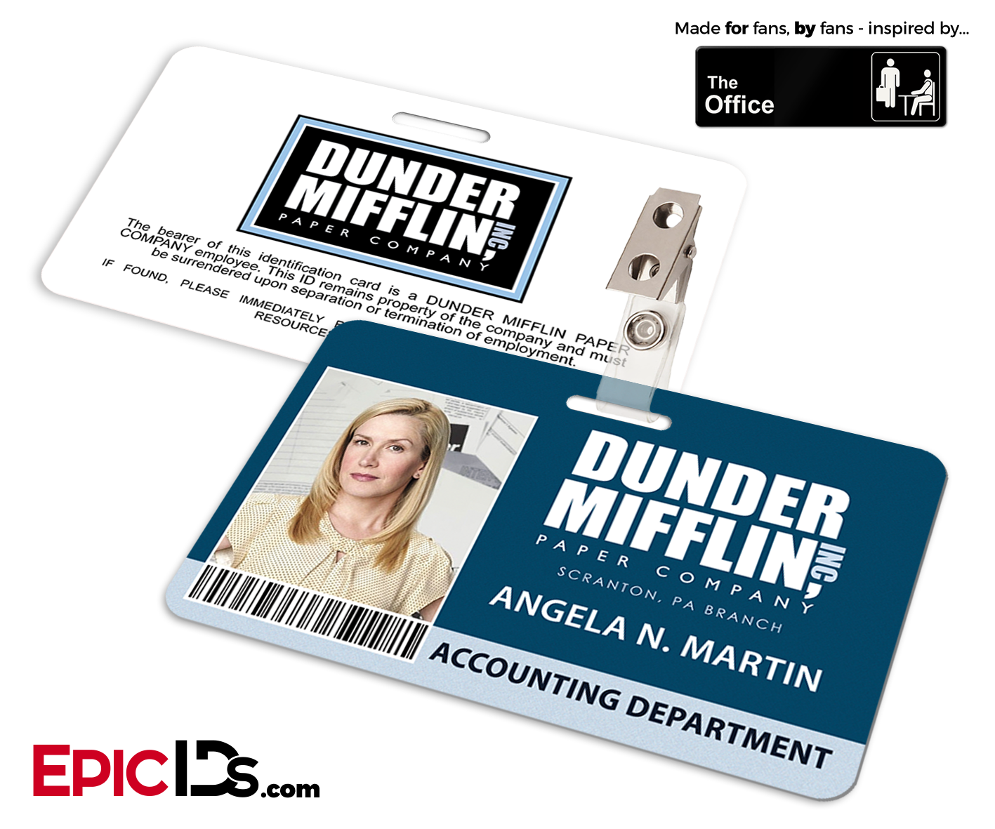 the office inspired dunder mifflin employee id badge angela