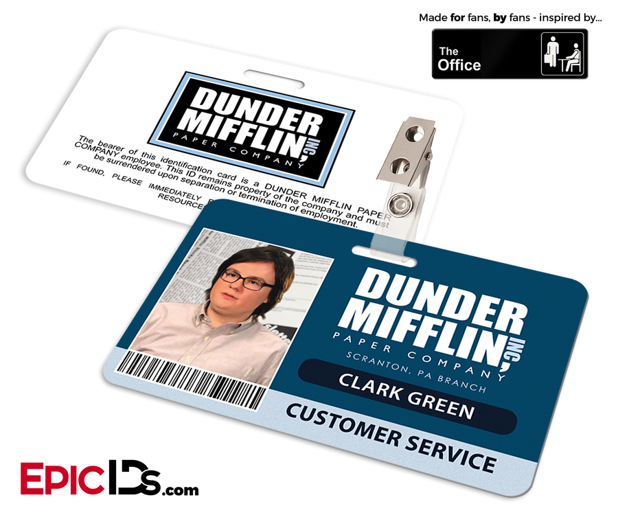 The Office Inspired - Dunder Mifflin Employee ID Badge - Clark Green