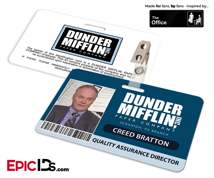 The Office Inspired - Dunder Mifflin Employee ID Badge - Creed Bratton