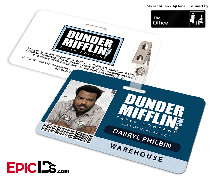 The Office Inspired - Dunder Mifflin Employee ID Badge - Daryl Philbin