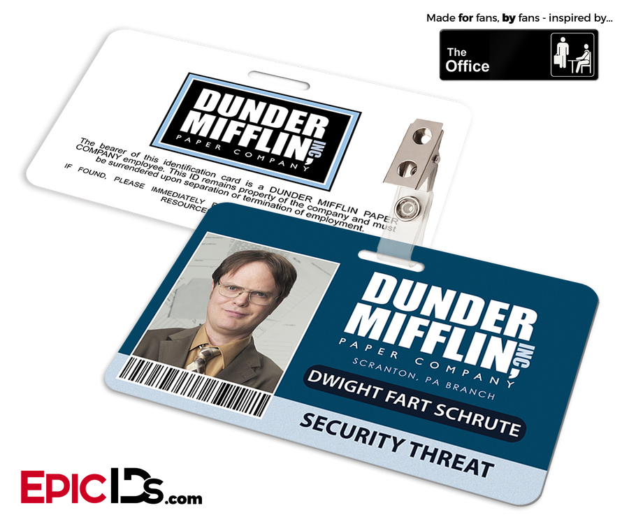 The Office Inspired - Dunder Mifflin Employee ID Badge - Dwight Fart Schute (Security Threat)