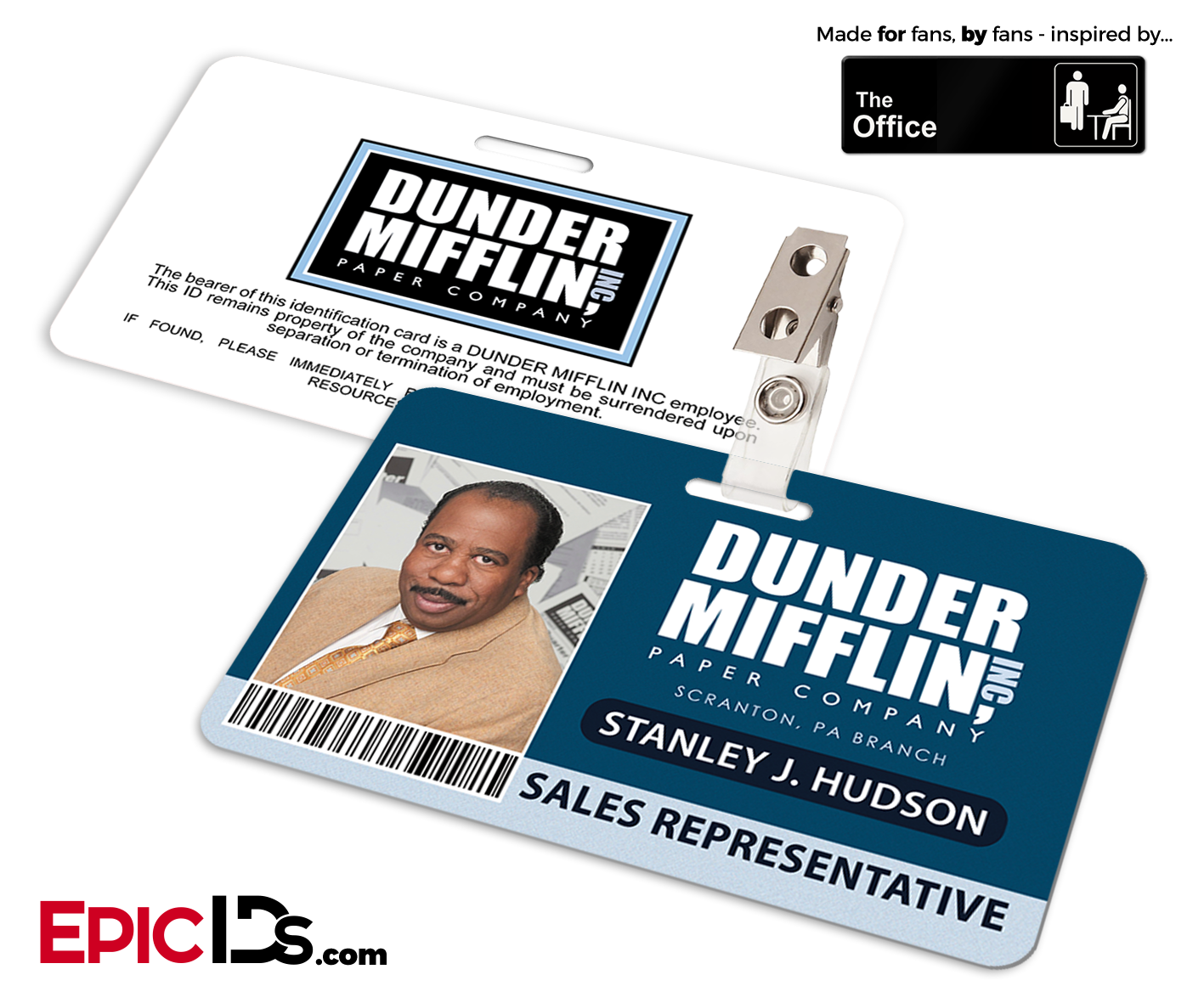 The Office Inspired Dunder Mifflin Employee ID Badge Stanley - Employee id badges