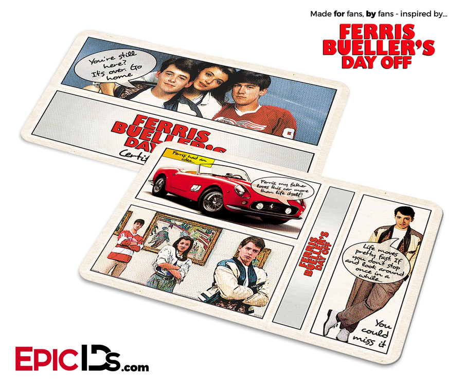 Ferris Bueller's Day Off Inspired Fan Card - 80's Comic Strip Style