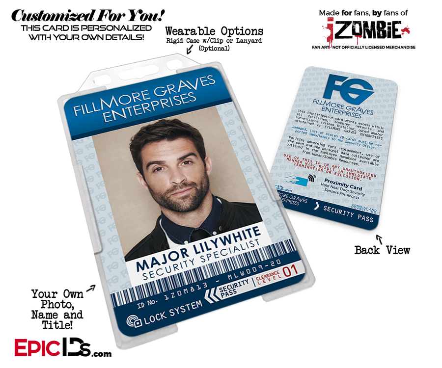 Fillmore Graves Enterprises 'iZombie' Cosplay Employee ID [Custom / Photo Personalized]