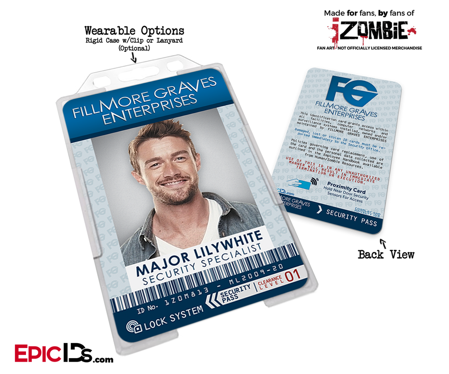 Fillmore Graves Enterprises 'iZombie' Cosplay Employee ID - Major Lillywhite