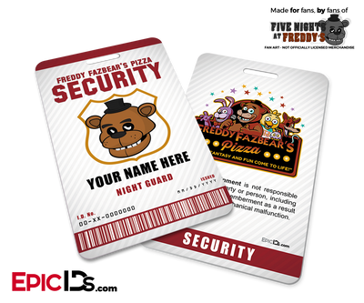 Night Guard Freddy Fazbear's Pizza FNAF ID Badge (Tall) - Personalized