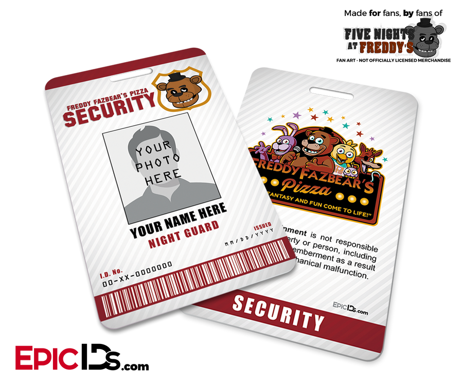 Night Guard Freddy Fazbear's Pizza FNAF ID Badge (Tall) - Photo Personalized