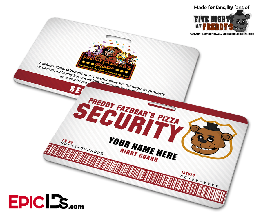 Night Guard Freddy Fazbear's Pizza FNAF ID Badge (Wide) - Personalized