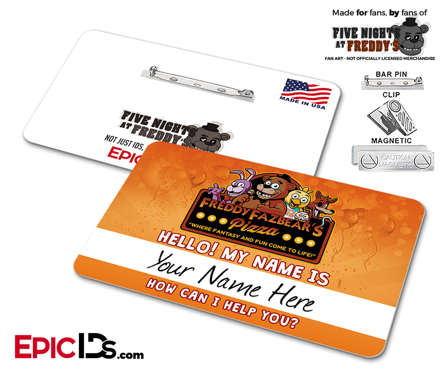 Freddy Fazbear's Pizza FNAF Employee Name Badge - Personalized