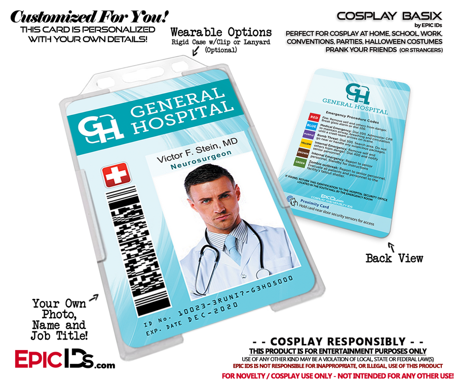 General Hospital Employee Medical / Doctor Themed Cosplay ID Name Badge