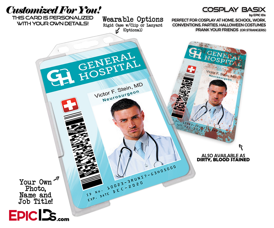 General Hospital Employee Medical Doctor Themed Cosplay ID Name Badge