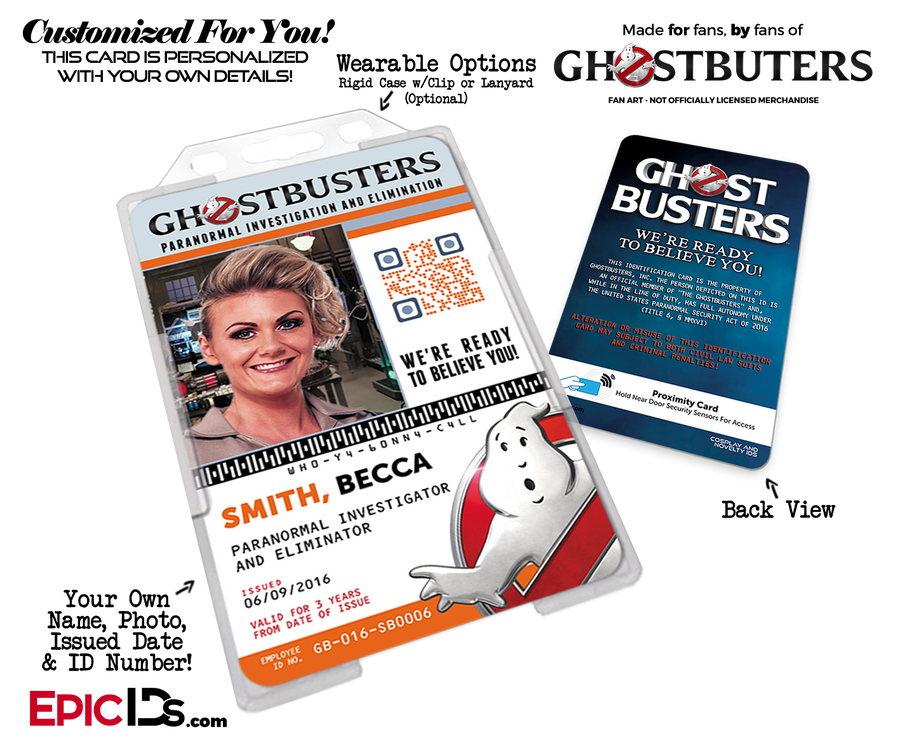 Ghostbusters Reboot Paranormal Investigation Cosplay Name Badge/ID Card - Photo Personalized