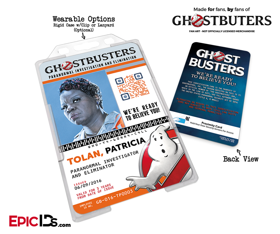 Ghostbusters Reboot Paranormal Investigation Cosplay Name Badge/ID Card - Patricia (Patty) Tolan