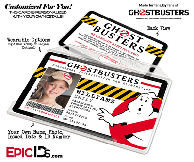 Ghostbusters Paranormal Investigation Cosplay Name Badge/ID Card - Photo Personalized
