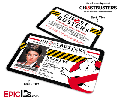 Ghostbusters Paranormal Investigation Cosplay Name Badge/ID Card - Janine Melnitz