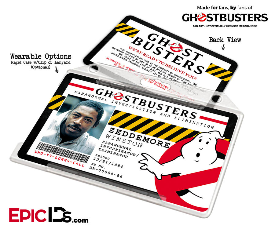 Ghostbusters Paranormal Investigation Cosplay Name Badge/ID Card - Winston Zeddemore