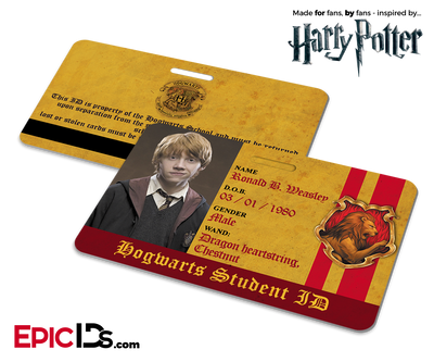 Harry Potter Inspired Hogwarts Student ID (Gryffindor) - Ronald Weasley